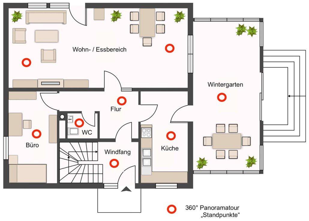 Panoramatour - Grundriss einer Immobilie