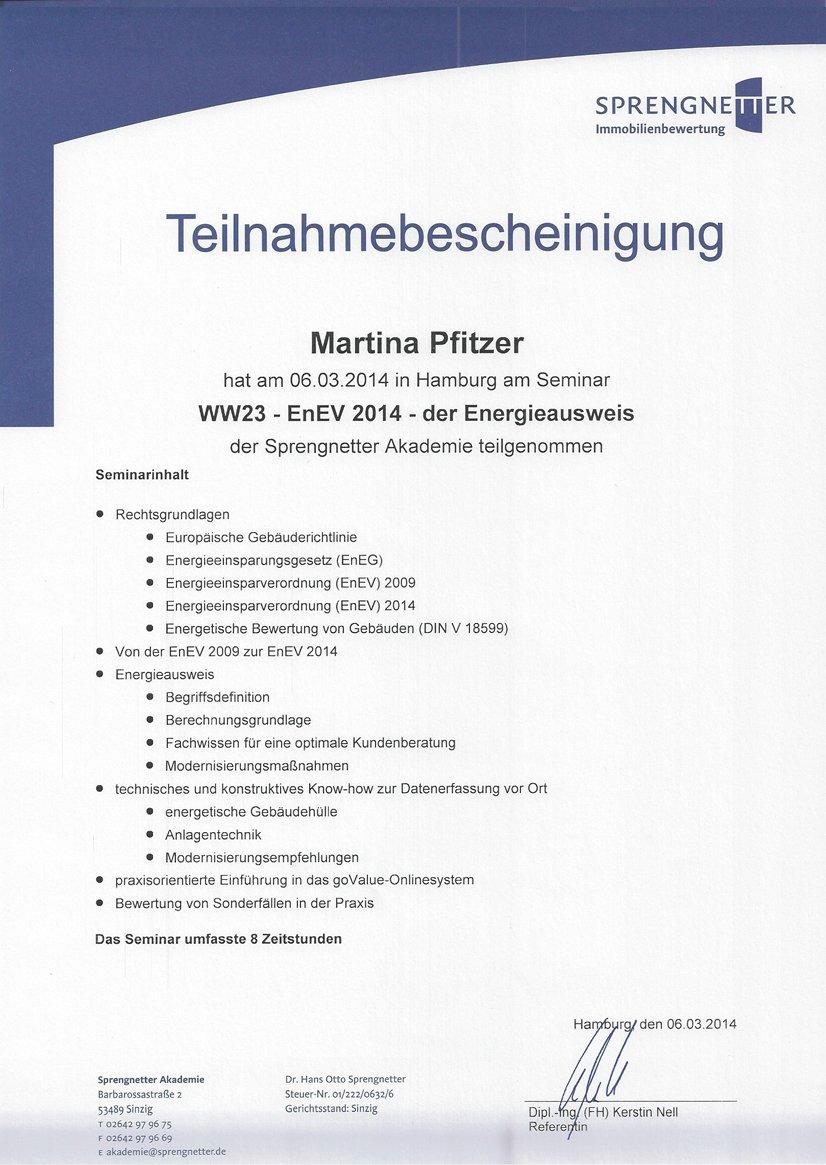 Teilnahmebescheinigung - Energieausweis - Martina Pfitzer